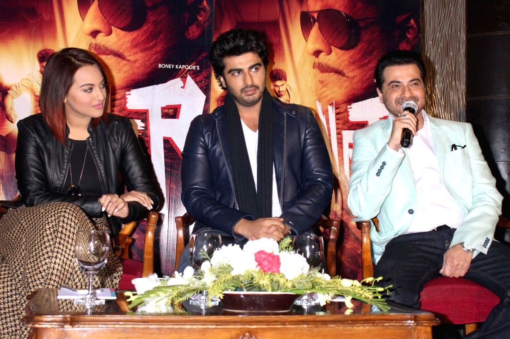 Actors Sonakshi Sinha, Arjun Kapoor and Sanjay Kapoor during a press conference to promote their upcoming film `Tevar` in New Delhi, on Jan 4, 2015. - Sonakshi Sinha, Arjun Kapoor and Sanjay Kapoor
