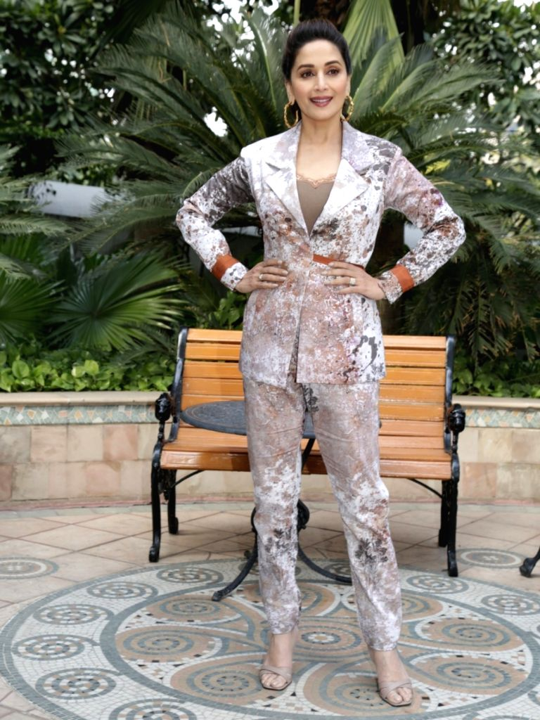 """New Delhi: Actress Madhuri Dixit at the promotional interview of her upcoming film """"Total Dhamaal"""" in New Delhi, on Feb 18, 2019. - Madhuri Dixit"""