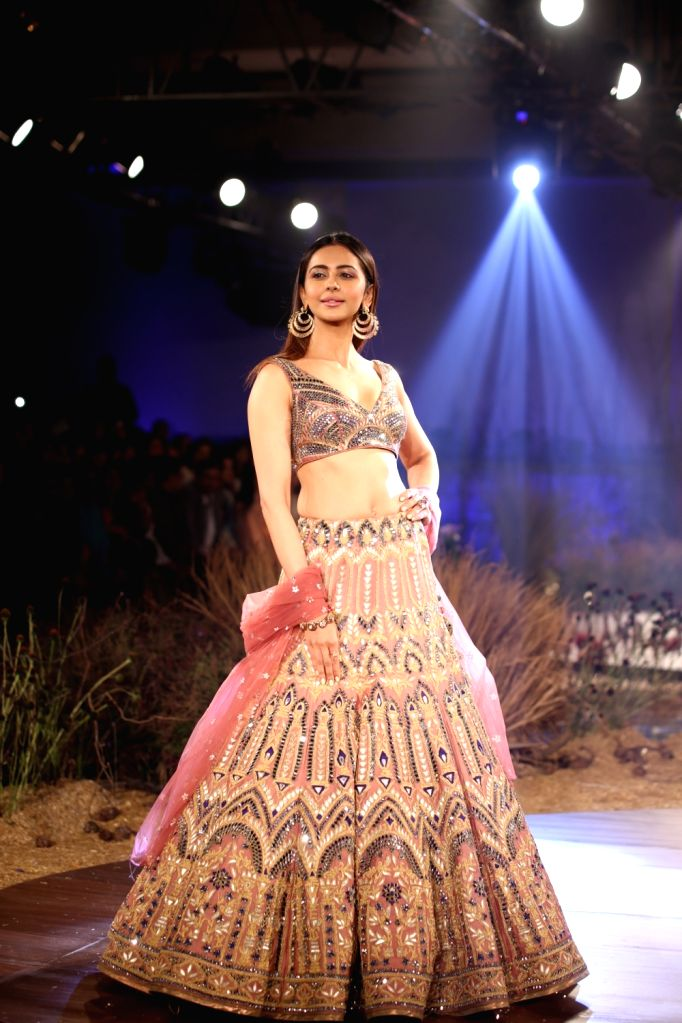 New Delhi: Actress Rakul Preet Singh walks the ramp for designer Reynu Tandon at India Couture Week 2019 in New Delhi, on July 26, 2019. (Photo: Amlan Paliwal/IANS) - Rakul Preet Singh