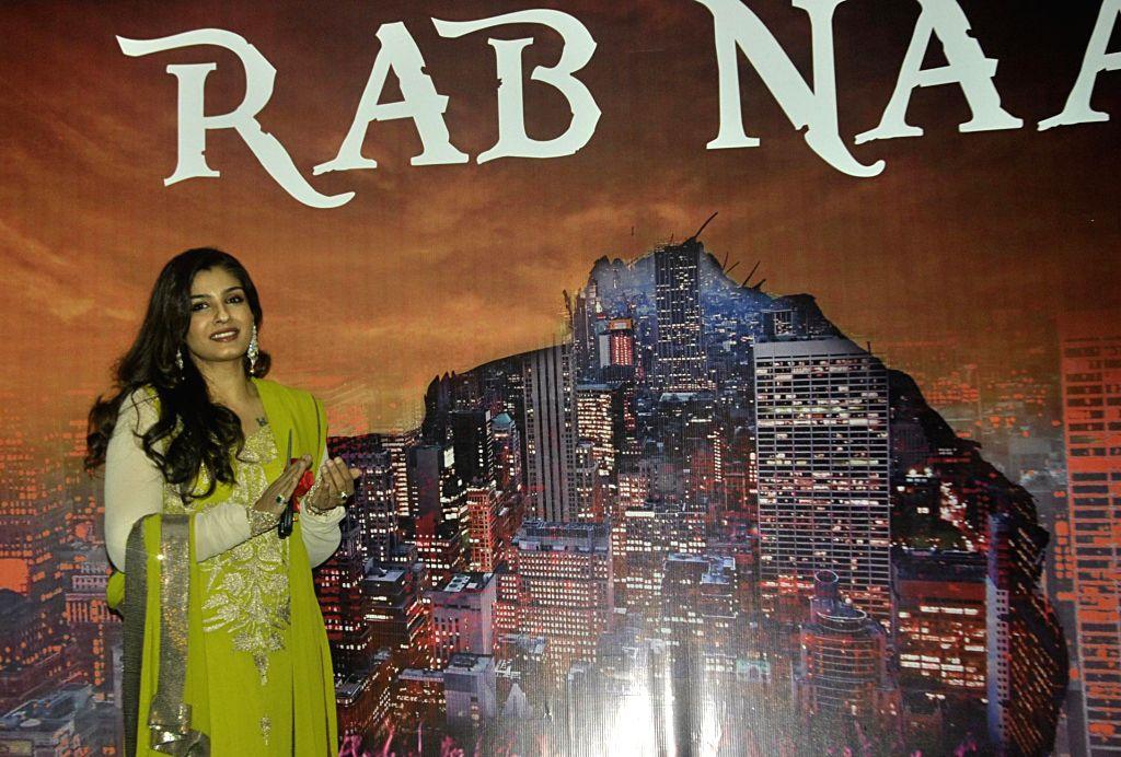 Actresses Raveena Tandon at the launch of the poster of upcoming film `RAB NAA` in New Delhi, on Feb 18, 2015. - Raveena Tandon
