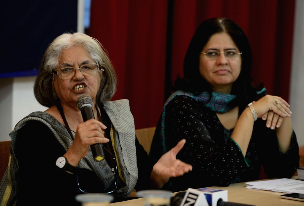 Additional Solicitor General Indira Jaising with lawyer Prashant Mendiratta and Vrinda Grover addresses a press conference in support of social activist Teesta Setalvad in New Delhi, on ...