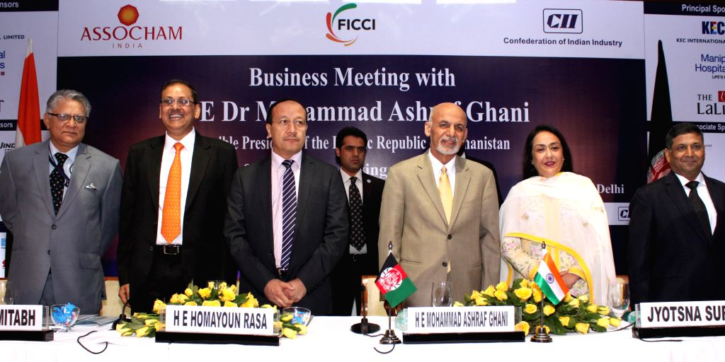 Afghanistan President Dr. Mohammad Ashraf Ghani during a business meeting and joint interaction with FICCI, CII & ASSOCHAM members in New Delhi on April 29, 2015.