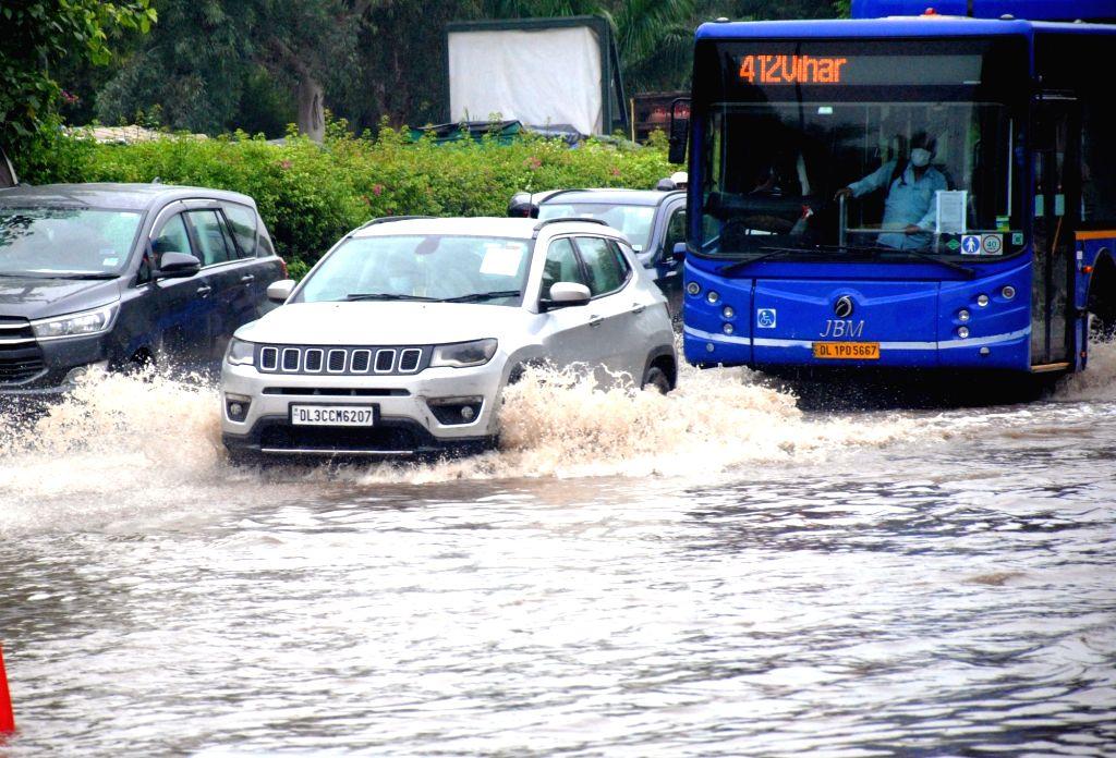 New Delhi: After heavy rain waterlogging at IP extension in New Delhi on July 27, 2021. (Photo: Qamar Sibtain/ IANS)