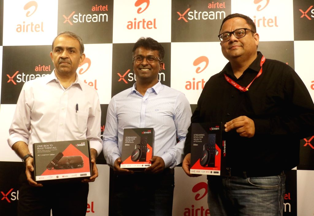 New Delhi: Airtel DTH CEO and Director Sunil Taldar, Bharti Airtel Chief Product Officer Adarsh Nair and CEO (Content & Apps) Sameer Batra during a press conference at the launch of Airtel Xstream in New Delhi on Sep 2, 2019. (Photo: IANS)