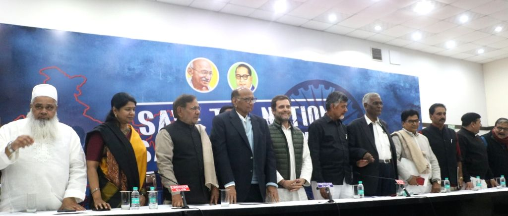 New Delhi: All India United Democratic Front (AIUDF) chief Maulana Badruddin Ajmal, DMK leader Kanimozhi, Loktantrik Janata Dal (LJD) leader Sharad Yadav, Nationalist Congress Party (NCP) chief Sharad Pawar, Congress President Rahul Gandhi, Andhra Pr - Sharad Yadav, Rahul Gandhi and N. Chandrababu Naidu