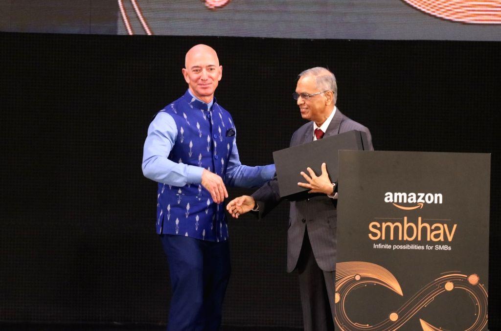 New Delhi: Amazon CEO Jeff Bezos and Infosys co-founder NR Narayana Murthy at the Amazon Smbhav event in New Delhi on Jan 15, 2020. (Photo: IANS)