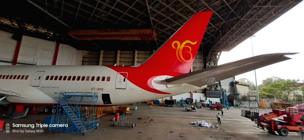 """New Delhi: An Amritsar to Stansted, UK, Boeing 787 Dreamliner aircraft sporting the scared symbol of """"Ek Onkar"""" on its tail wing, that will be launched by Air India from Amritsar on October 31, 2019 to mark the 55oth anniversary of Gurupurab celebrat"""