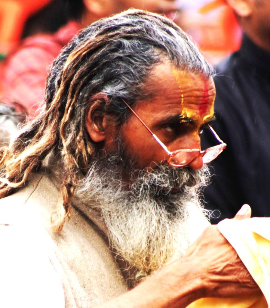An ascetic participate in VHP's Virat Hindu Sammelan organised at Jawaharlal Nehru Stadium of New Delhi, on March 1, 2015.
