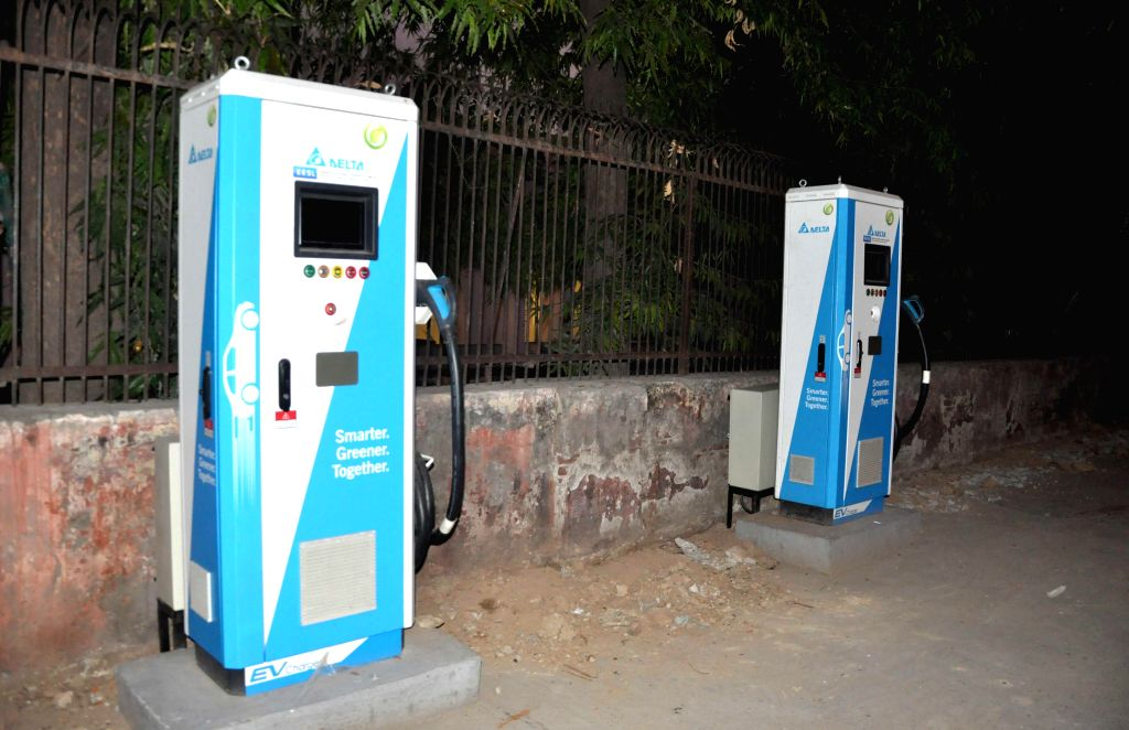 New Delhi: An electric vehicle charging station at�Rafi Marg in New Delhi on July 10, 2019. (Photo: IANS)