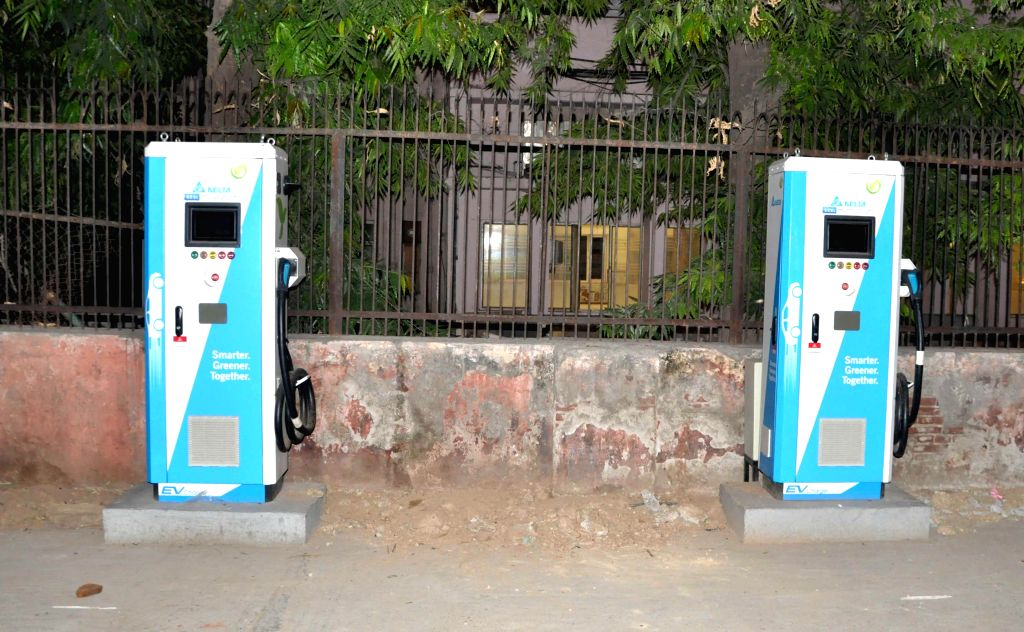 New Delhi: An electric vehicle charging station in New Delhi on July 10, 2019. (Photo: IANS)
