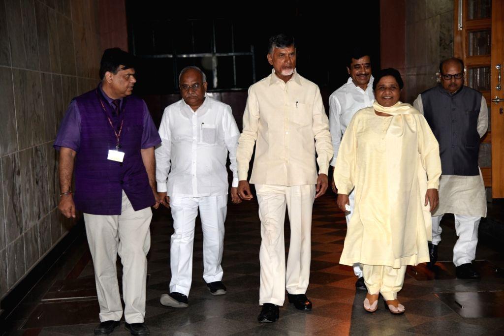:New Delhi: Andhra Pradesh Chief Minister and TDP chief N. Chandrababu Naidu meets BSP chief Mayawati in New Delhi, on Oct 27, 2018. (Photo: IANS).