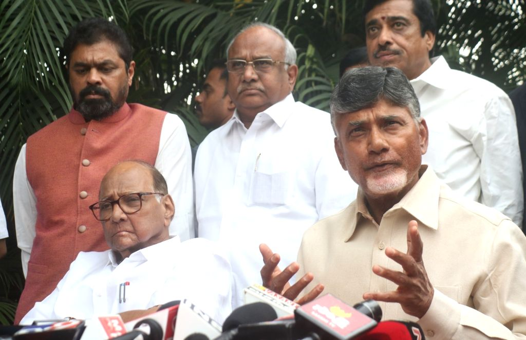 :New Delhi: Andhra Pradesh Chief Minister and Telugu Desam Party (TDP) chief N. Chandrababu Naidu accompanied by NCP chief Sharad Pawar talks to the media in New Delhi, on Nov 1, 2018. (Photo: ...