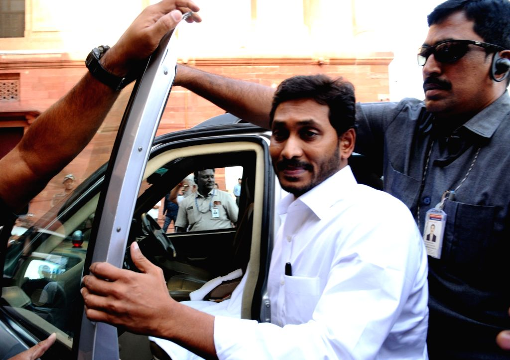New Delhi: Andhra Pradesh Chief Minister Jagan Mohan Reddy arrives to meet Home Minister Amit Shah at North Block in New Delhi on June 14, 2019. (Photo: IANS) - Jagan Mohan Reddy and Amit Shah