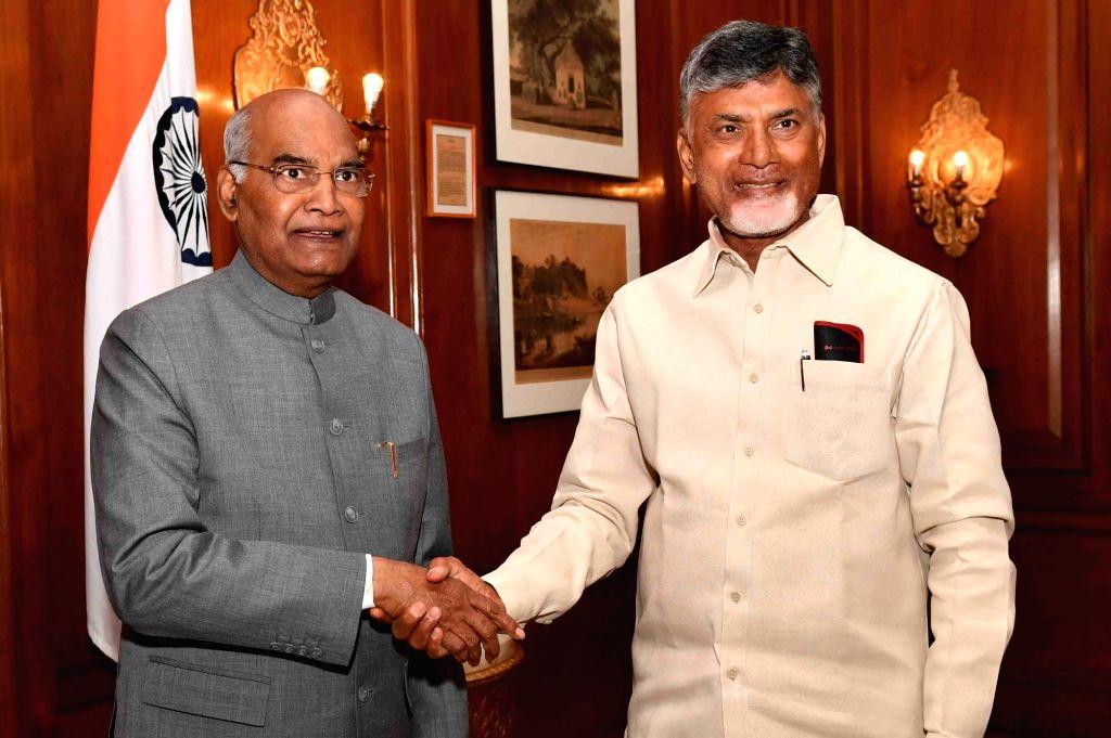 New Delhi: Andhra Pradesh Chief Minister N. Chandrababu Naidu calls on President Ram Nath Kovind at Rashtrapati Bhawan in New Delhi, on Feb 12, 2019. (Photo: IANS/RB) - N. Chandrababu Naidu and Nath Kovind