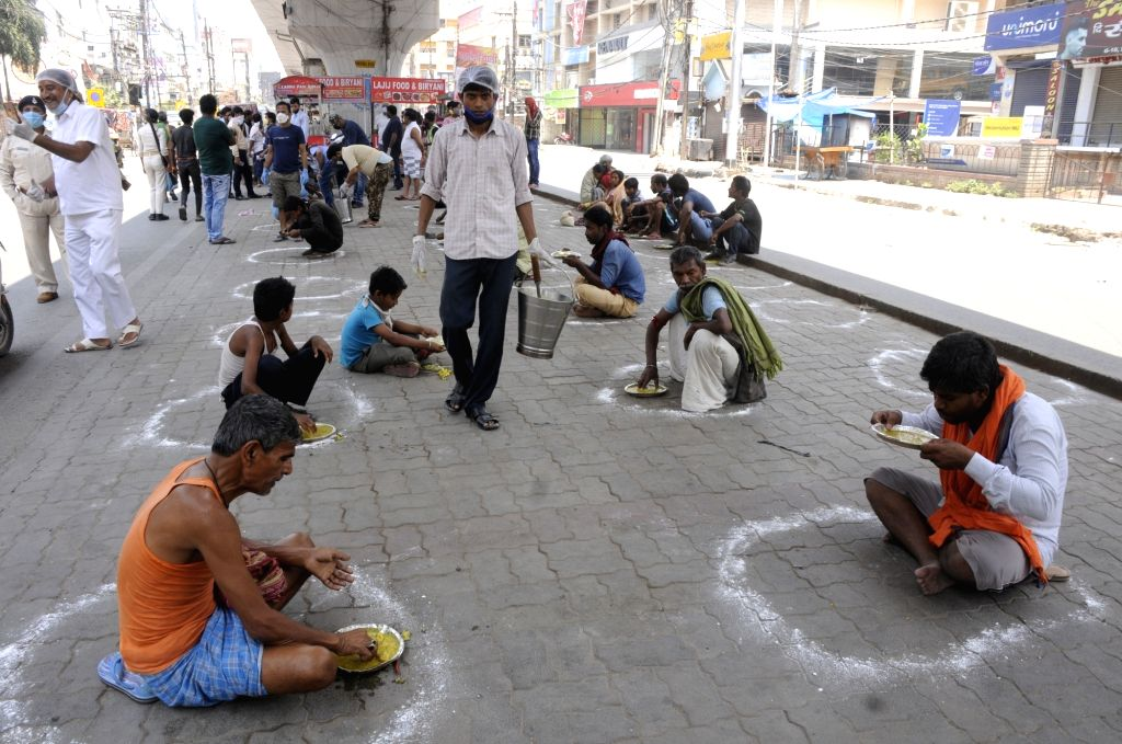 New Delhi, April 13 (IANS) India defender Subhashish Bose is helping feed the homeless and jobless in his home town Subhasgram in South 24 parganas. - Subhashish Bose