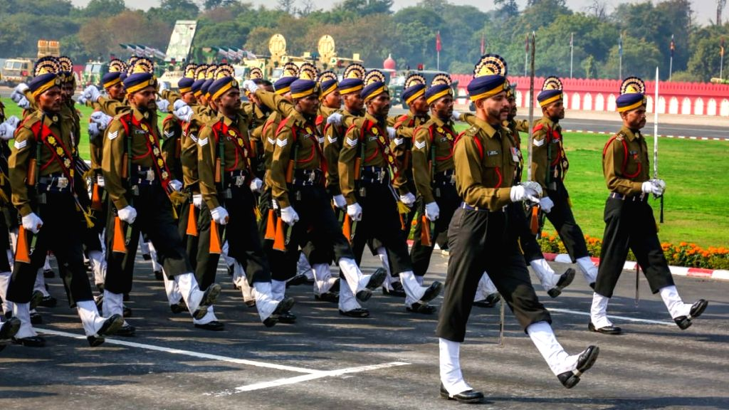 New Delhi: Army Day parade underway at Cariappa Parade Ground in New Delhi, on Jan 15, 2019. (Photo: IANS/Indian Army)