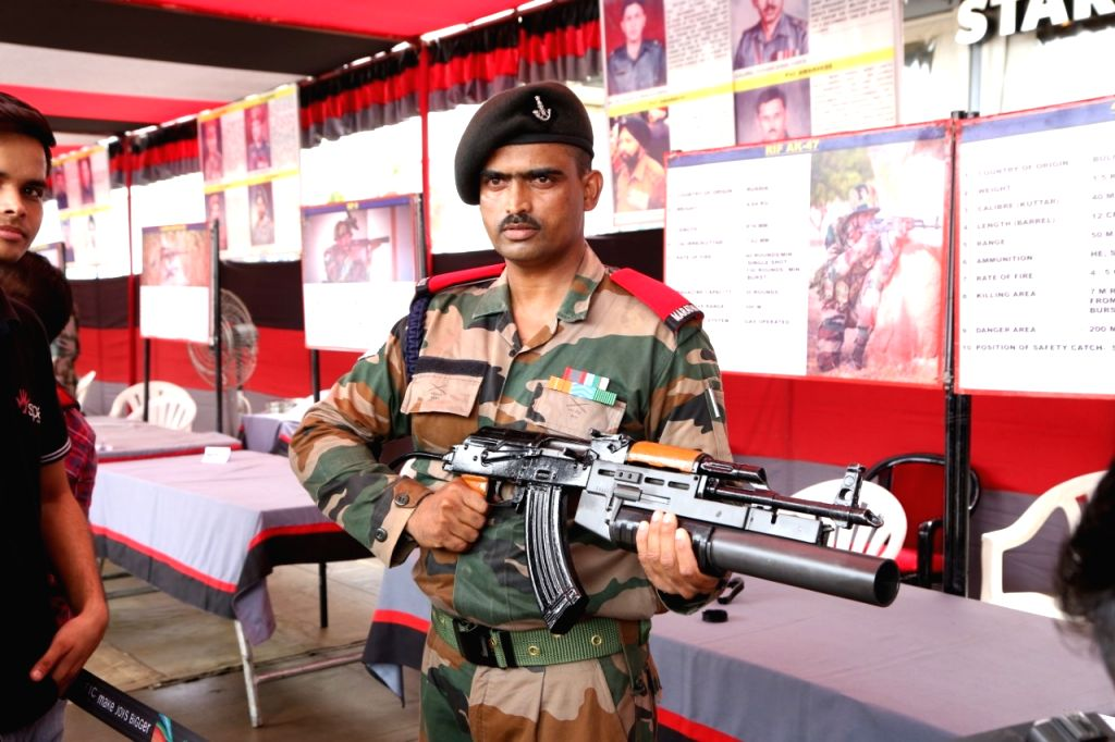 New Delhi: Army personnel display weapons and ammunition during an exhibition in New Delhi on Aug 12, 2019. (Photo: IANS)