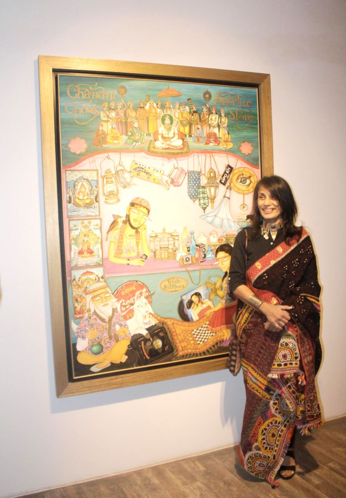 Artist Nilofer Suleman during an art exhibition in New Delhi, on Dec 5, 2014.