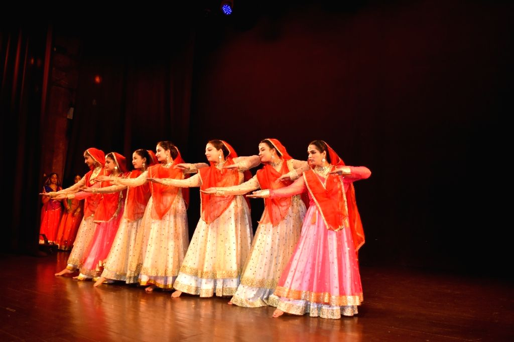 "New Delhi: Artistes of The AAMAD Kathak Dance Center perform during ""Rang-E-Sukha"" at Sri Ram Centre in New Delhi on Jan 15, 2020. (Photo: IANS)"