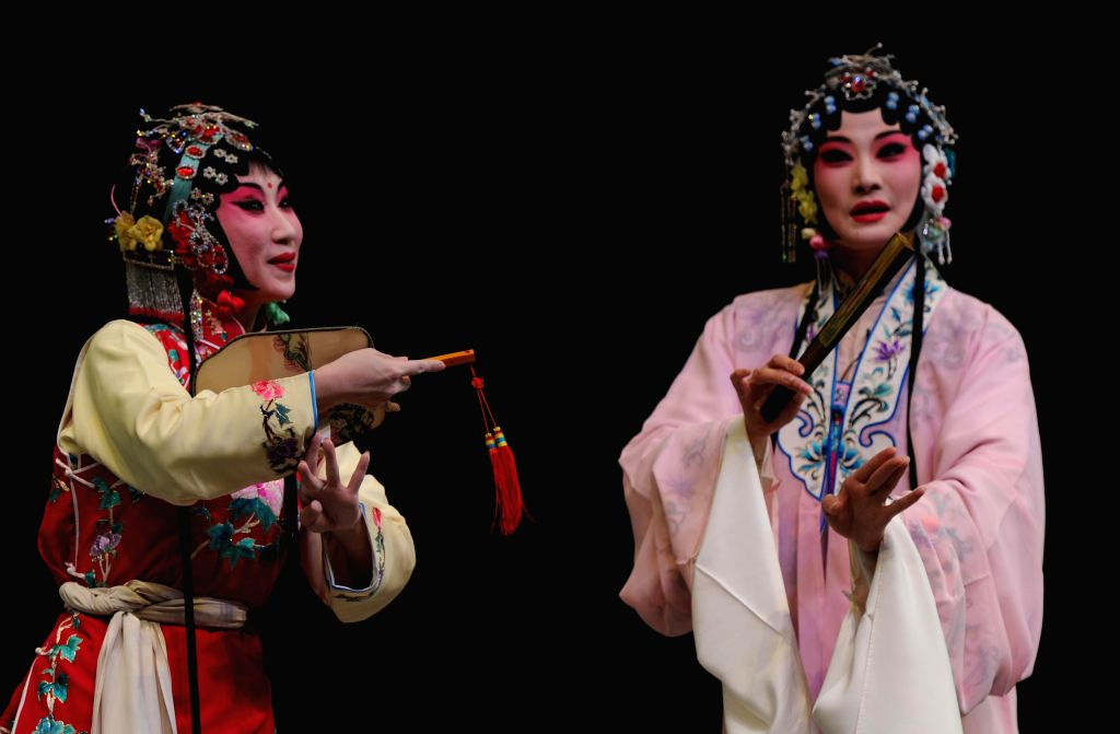 Artists of legendary Chinese Kunqu Opera performing ``Peony Pavilion`` the Romeo and Juliet of China at Siri Fort auditorium in New Delhi on Dec. 12, 2014.