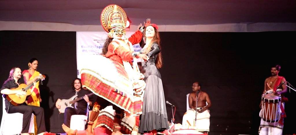 :New Delhi: Artists perfom during a Kathakali-Flamenco fusion dance-drama titled `Draupadi` in New Delhi on Nov. 7, 2015. (Photo: IANS).