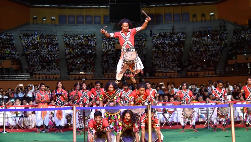 New Delhi: Artists perform at the inauguration of National Tribal Carnival-2016 in New Delhi on Oct 25, 2016.