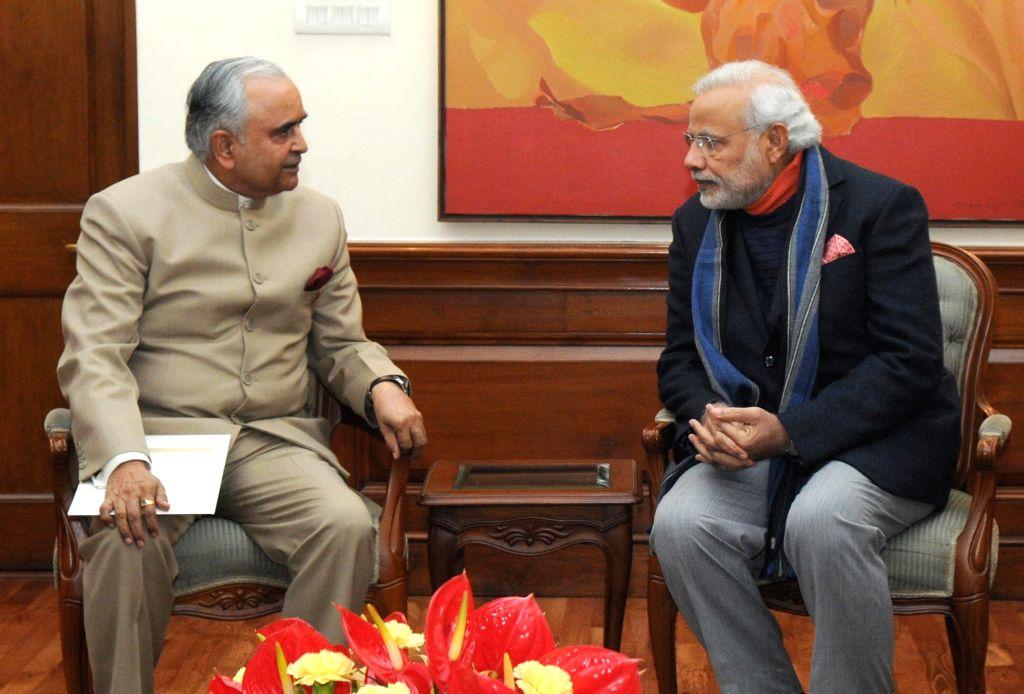 Arunachal Pradesh Governor Lt. Gen. (Retd.) Nirbhay Sharma calls on Prime Minister Narendra Modi in New Delhi on Jan 12, 2015. - Narendra Modi and Nirbhay Sharma
