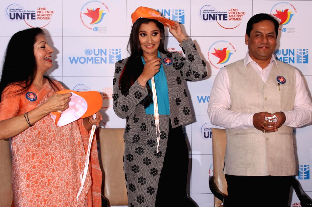 Assistant Secretary-General of the United Nations Lakshmi Puri, ​Indian tennis player​ Sania Mirza and Union MoS for Youth Affairs and Sports (Independent Charge) Sarbananda Sonowal ...
