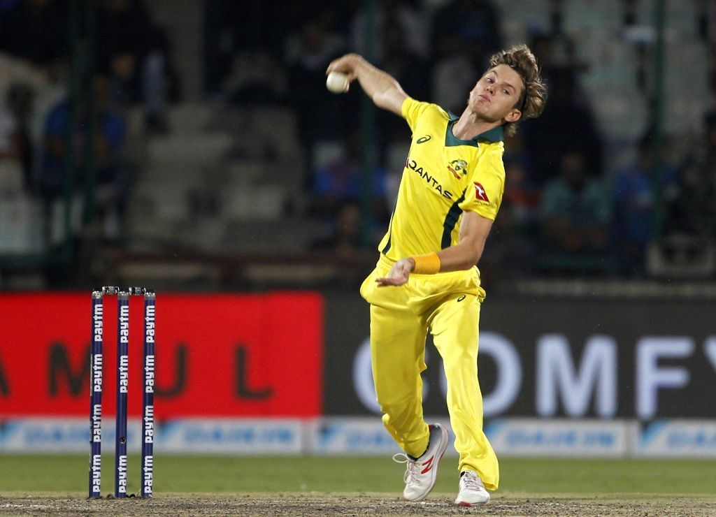 New Delhi: Australia's Adam Zampa in action during the fifth ODI match between India and Australia at Feroz Shah Kotla Stadium, in New Delhi, on March 13, 2019. (Photo: Surjeet Yadav/IANS) - Surjeet Yadav