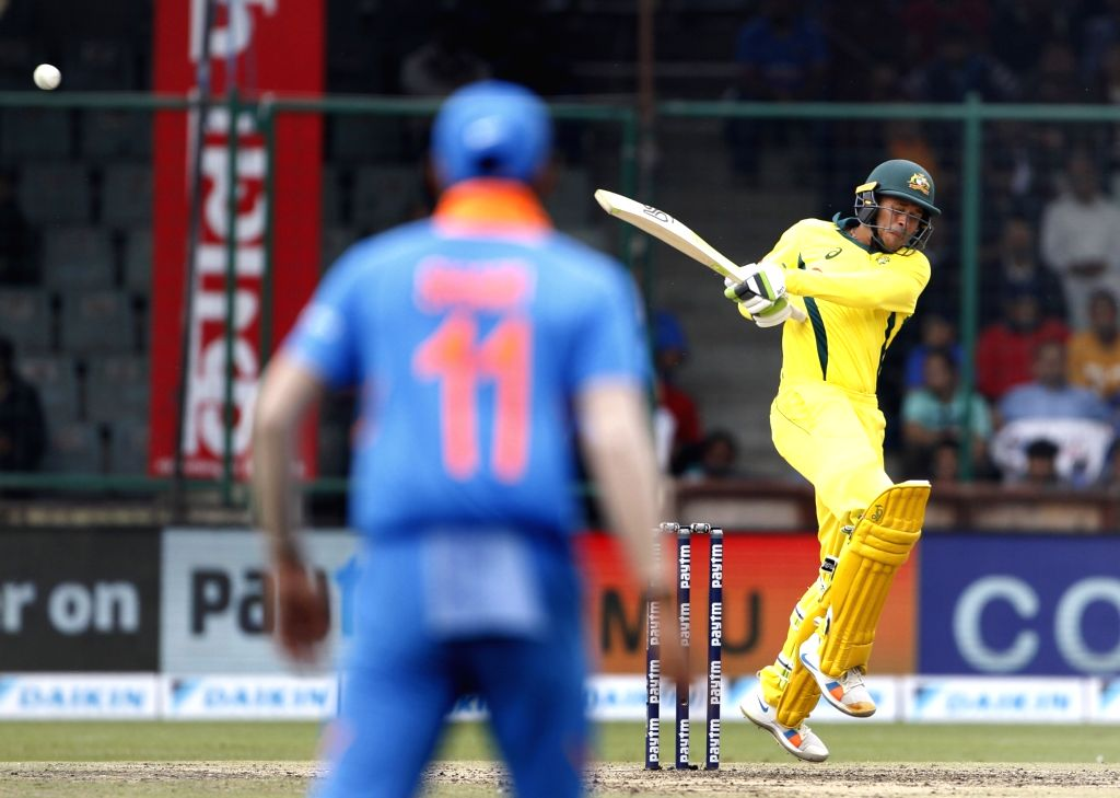 New Delhi: Australia's Usman Khawaja in action during the fifth ODI match between India and Australia at Feroz Shah Kotla Stadium, in New Delhi, on March 13, 2019.