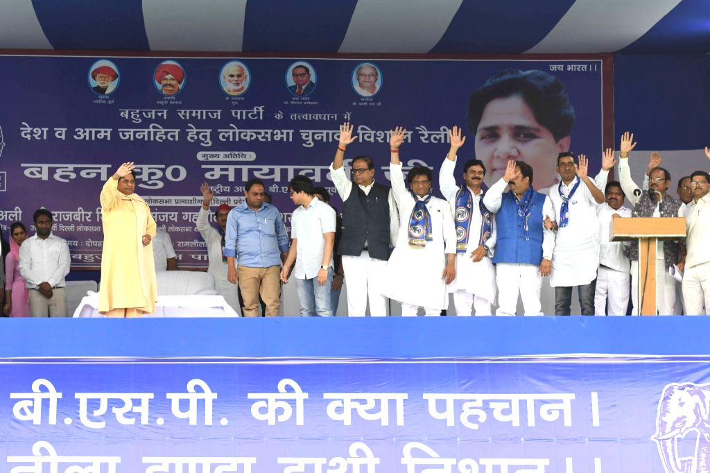 New Delhi: Bahujan Samaj Party (BSP) chief Mayawati waves at supporters during a public rally in New Delhi, on May 10, 2019. (Photo: IANS)