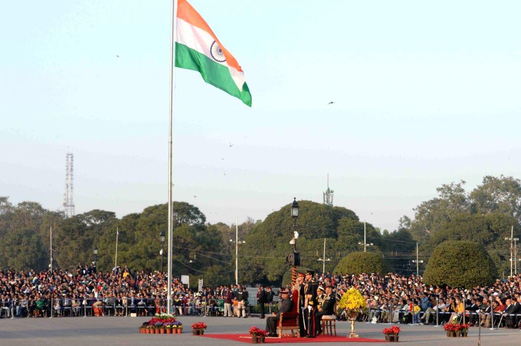 :New Delhi: Beating Retreat ceremony underway at Vijay Chowk in New Delhi, on Jan 29, 2018. (Photo: IANS/RB).