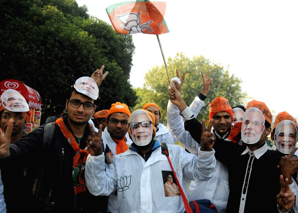 Bharatiya Janata Party (BJP) during a rally for the upcoming Delhi Assembly Election in New Delhi on Feb. 4, 2015.