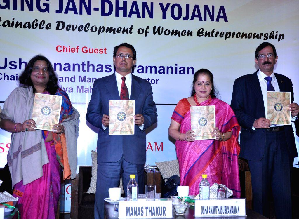 Bharatiya Mahila Bank CMD Usha Ananthasubramanian at an ASSOCHAM Summit on `Leveraging the Jan Dhan Yojana: A Viable Option for Sustainable Development of Women Entrepreneurship` in New ...