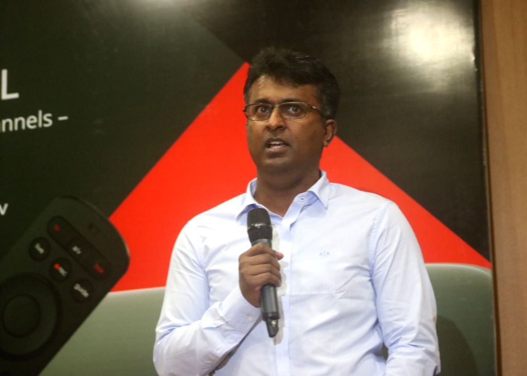New Delhi: Bharti Airtel Chief Product Officer Adarsh Nair addresses a press conference at the launch of Airtel Xstream in New Delhi on Sep 2, 2019. (Photo: IANS)
