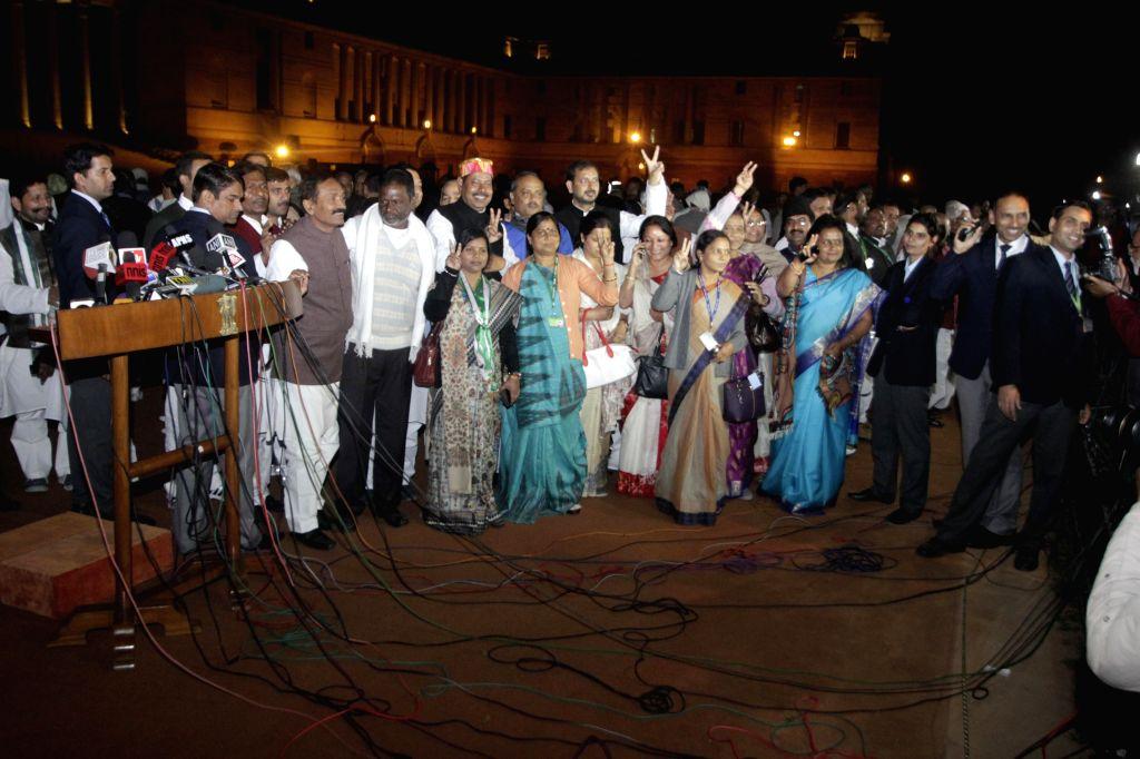 Bihar legislators during a press briefing after meeting President Pranab Mukherjee at Rashtrapati Bhawan in New Delhi, on Feb 11, 2015. - Pranab Mukherjee