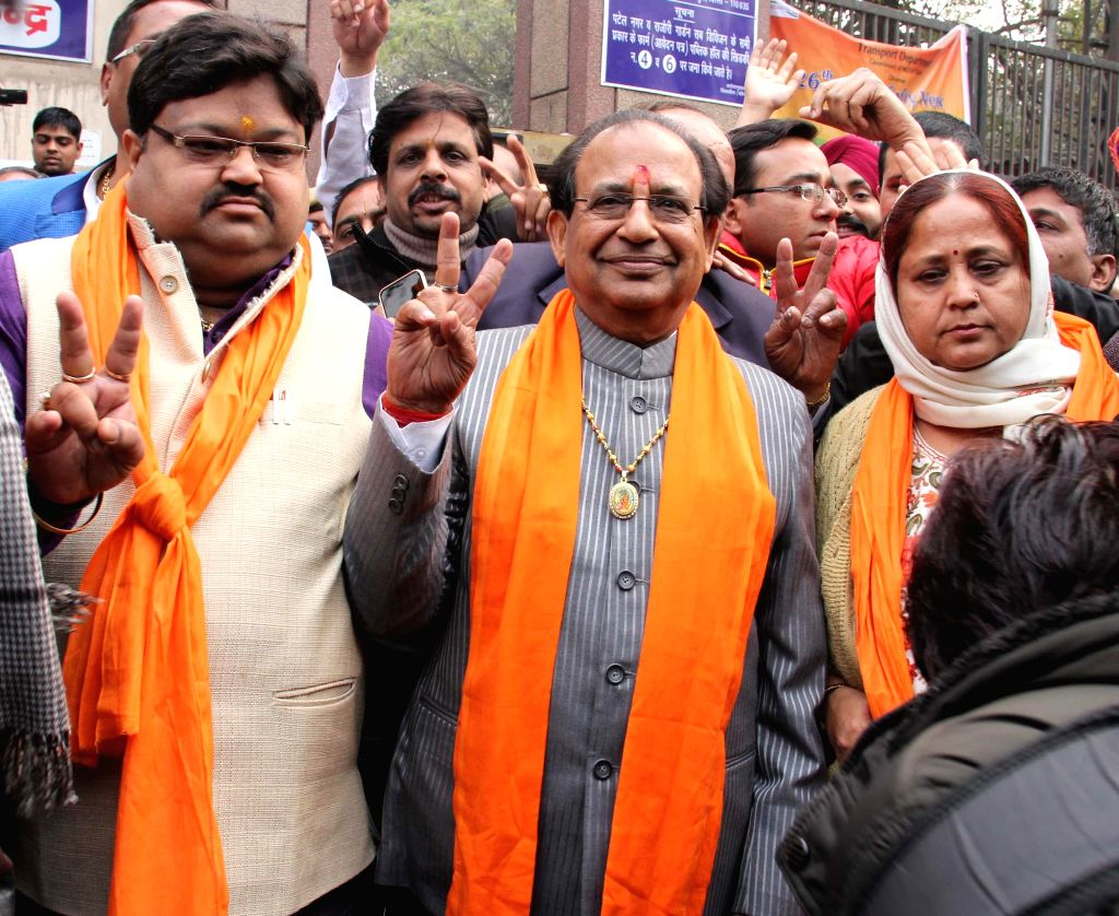 BJP candidate from Janakpuri Jagdish Mukhi arrives to file his nomination papers in New Delhi, on Jan 21, 2015.