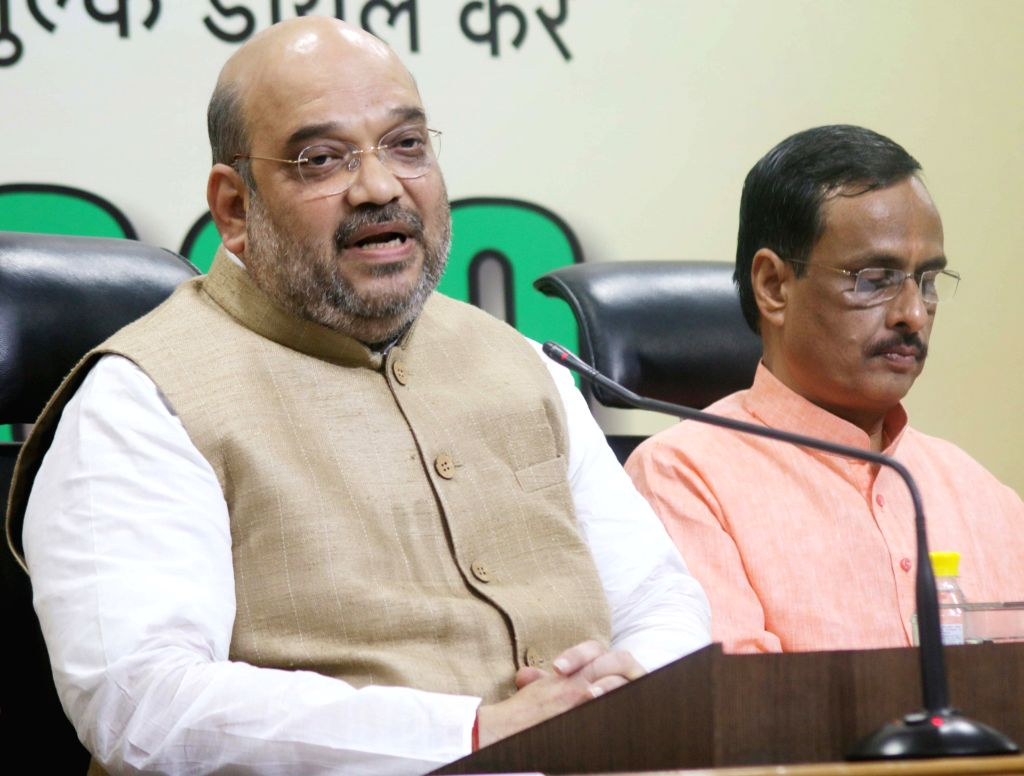 BJP chief Amit Shah addresses a press conference in New Delhi, on April 30, 2015.