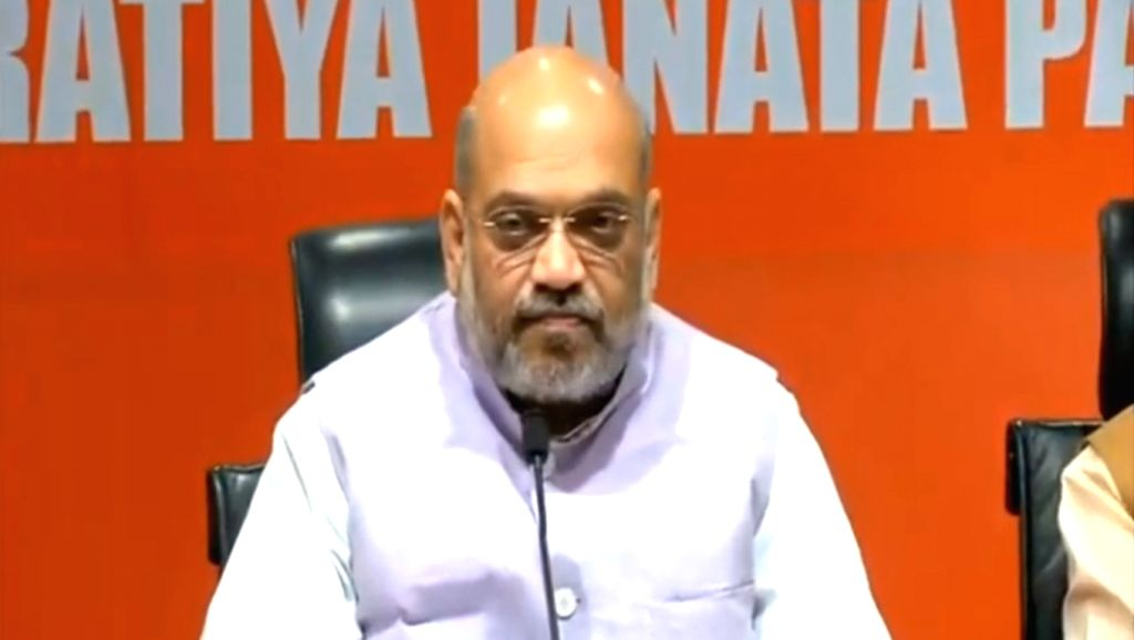 New Delhi: BJP chief Amit Shah addresses a press conference in New Delhi on May 15. 2019. (Photo: IANS) - Amit Shah