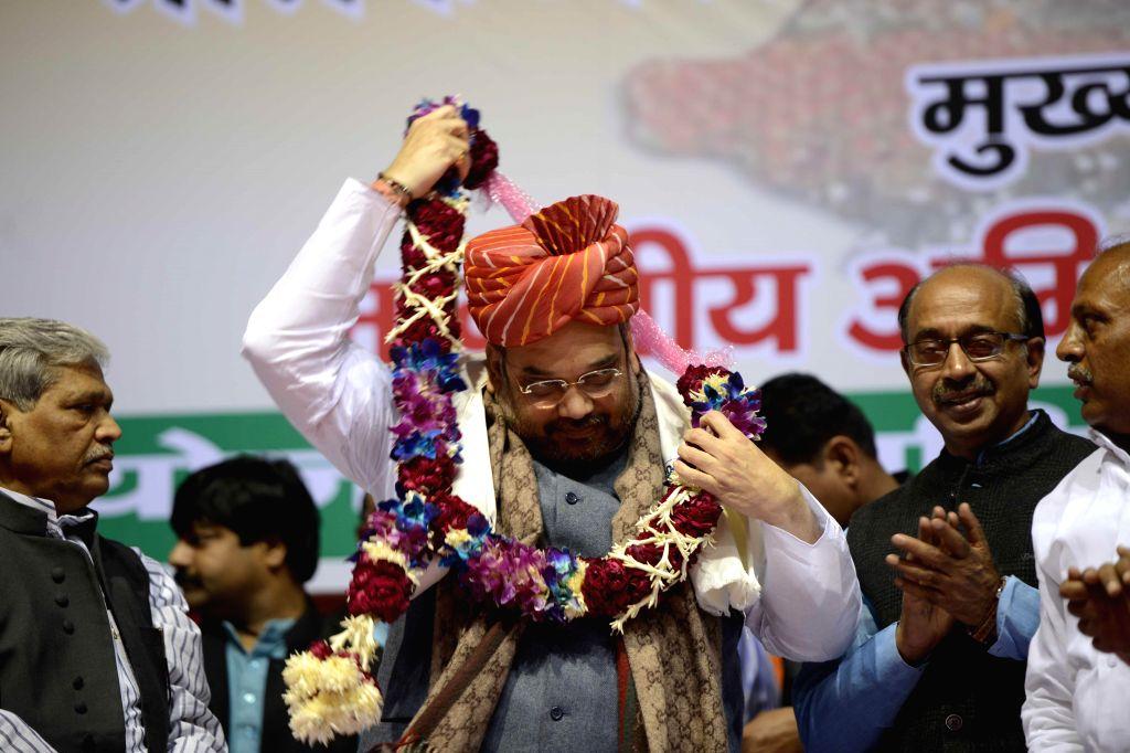 BJP chief Amit Shah during Valmiki Milan Utsav in New Delhi on Dec 1, 2014.