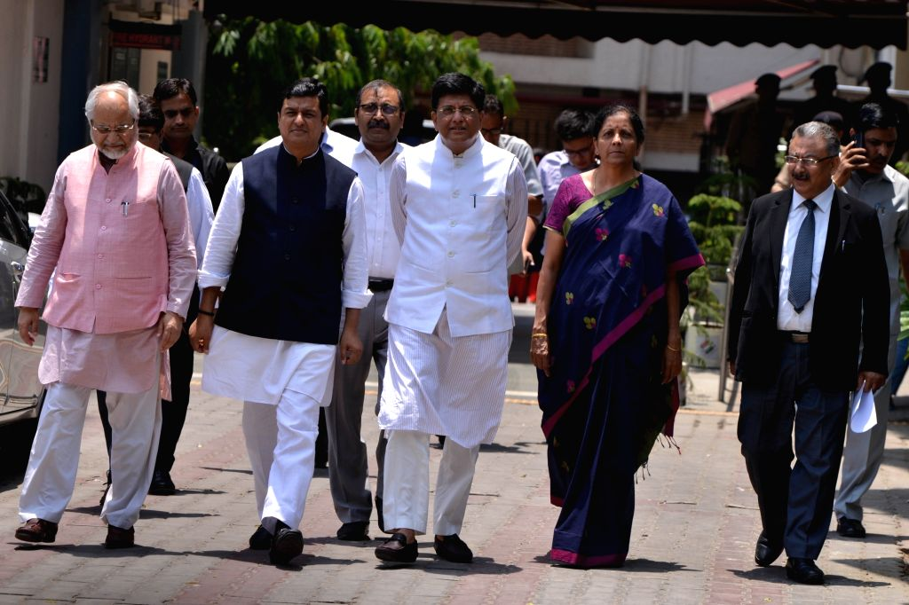 New Delhi: BJP delegation led by Union Ministers Piyush Goyal and Nirmala Sitharaman, comes out after meeting the Chief Election Commissioner (CEC) in New Delhi, on May 20, 2019. (Photo: IANS) - Piyush Goyal and Nirmala Sitharaman