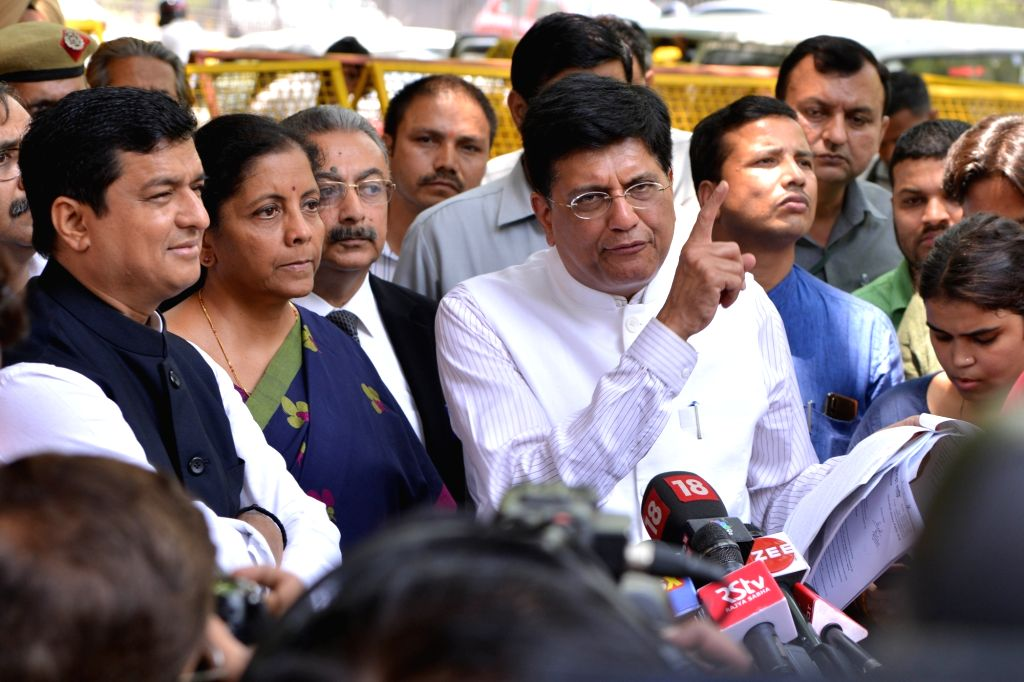 New Delhi: BJP delegation led by Union Ministers Piyush Goyal and Nirmala Sitharaman talk to media persons after meeting the Chief Election Commissioner (CEC) in New Delhi, on May 20, 2019. (Photo: IANS) - Piyush Goyal and Nirmala Sitharaman