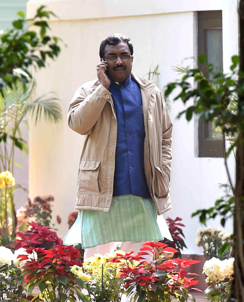 BJP General Secretary Ram Madhav at party chief Amit Shah's residence before a meeting regarding government formation in Jammu and Kashmir in New Delhi on Jan 5, 2015. - Amit Shah
