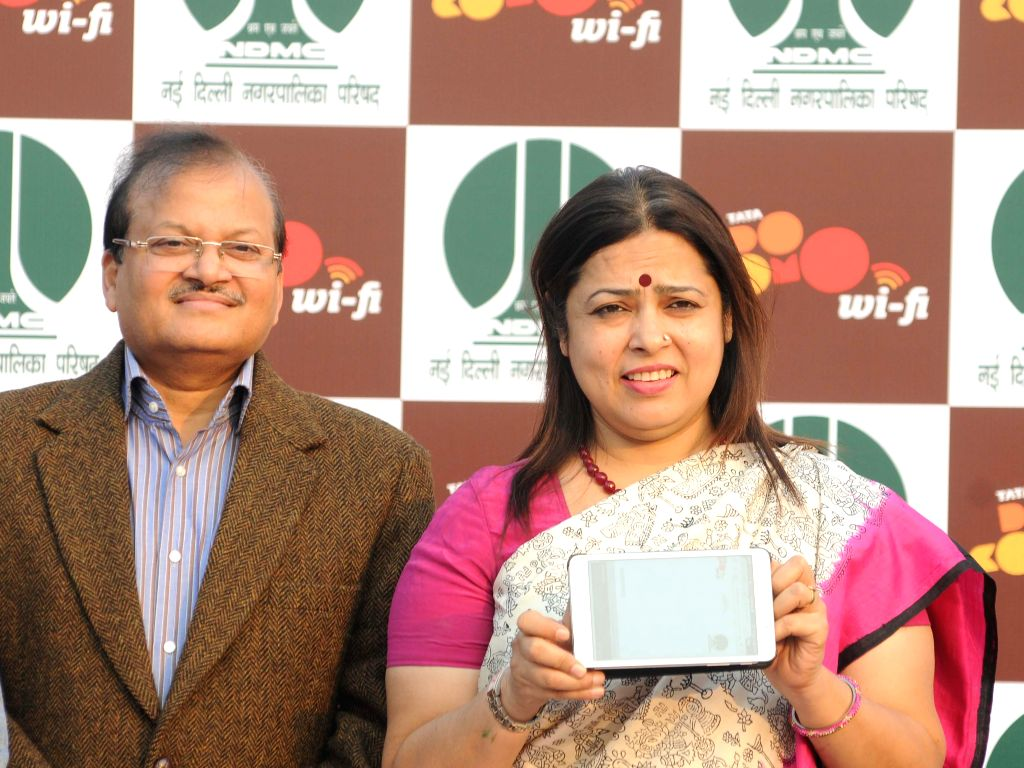 BJP leader and New Delhi MP Meenakshi Lekhi launches Wi-Fi services at the Central Park of Connaught Place in New Delhi, on Nov 16, 2014.