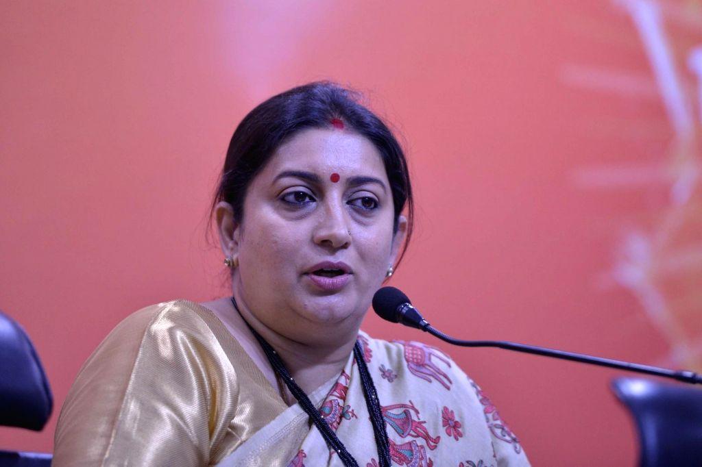 New Delhi: BJP leader and Union Information and Broadcasting (I&B) Minister Smriti Irani addresses during a press conference at BJP office in New Delhi on Sept 12, 2017. (Photo: IANS) - Smriti Irani