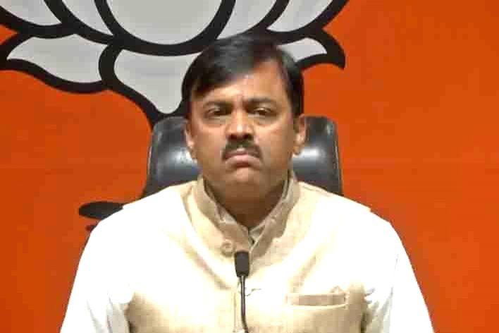 New Delhi: BJP leader G. V. L. Narasimha Rao addresses a press conference at the party's headquarter, in New Delhi on April 17, 2019. (Photo: IANS)