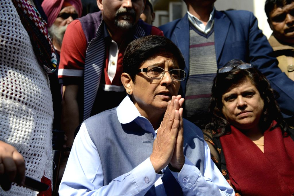 New Delhi: BJP leader Kiran Bedi addresses press at her residence in New Delhi on Feb 10, 2015. (Photo: IANS) - Kiran Bedi