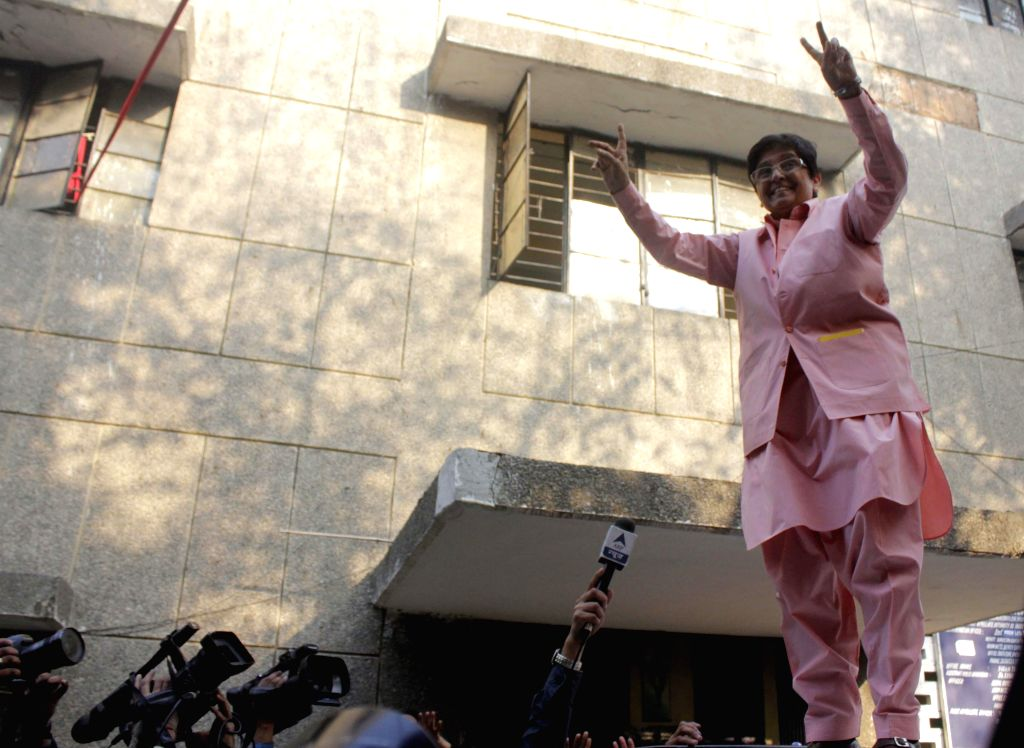 BJP leader Kiran Bedi at a polling station in New Delhi on Feb. 7, 2015.