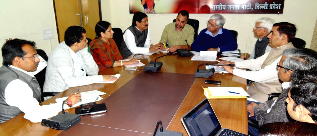 BJP leaders during a meeting regarding party's manifest for upcoming Delhi assembly elections on Nov 28, 2014.
