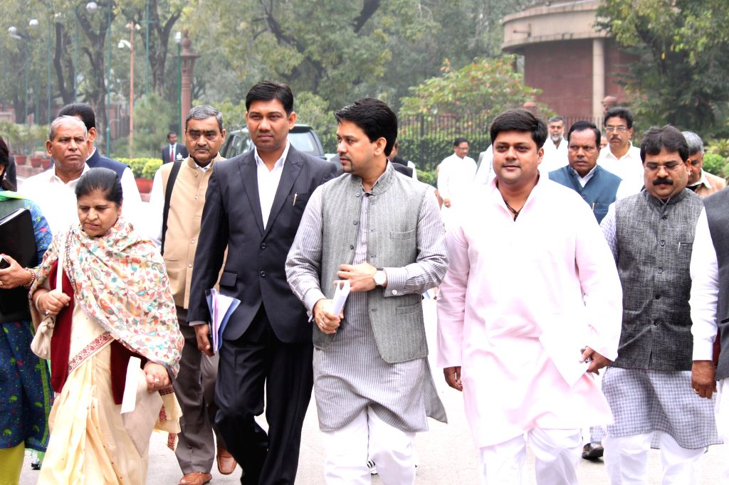 BJP MP Anurag Thakur arrives at the Parliament to attend BJP parliamentary party meeting in New Delhi, on March 3, 2015.